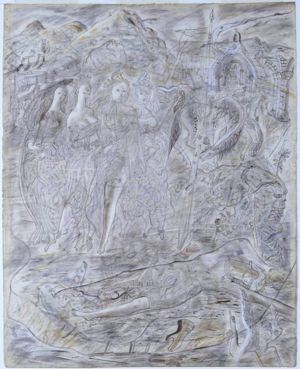 Illustration to the Arthurian Legend: The Four Queens Find Launcelot Sleeping 1941 David Jones 1895-1974 Purchased 1941 http://www.tate.org.uk/art/work/N05316