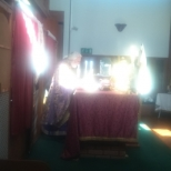 During Holy Liturgy at Holy Cross Parish, Lancaster