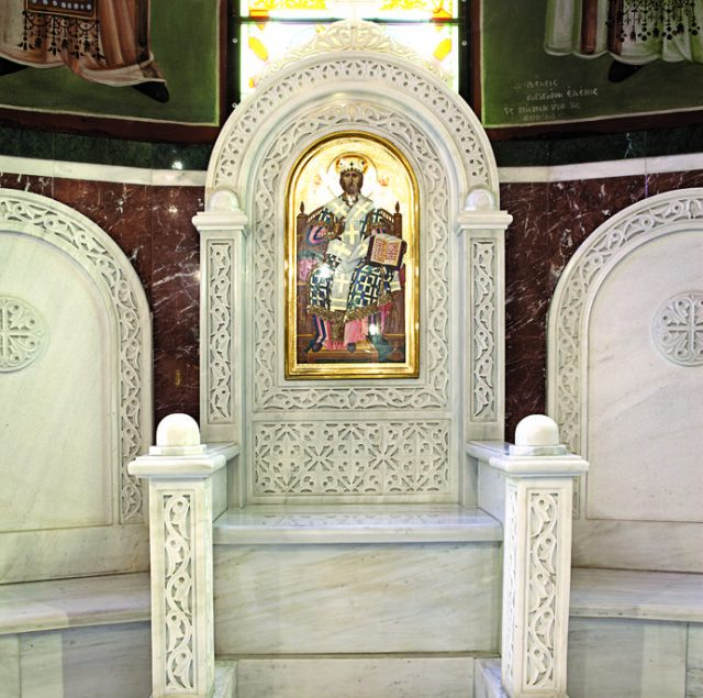 Christ icon on Bishop's throne
