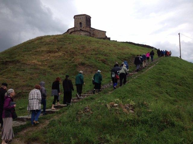 orthodox pilgrims climbing